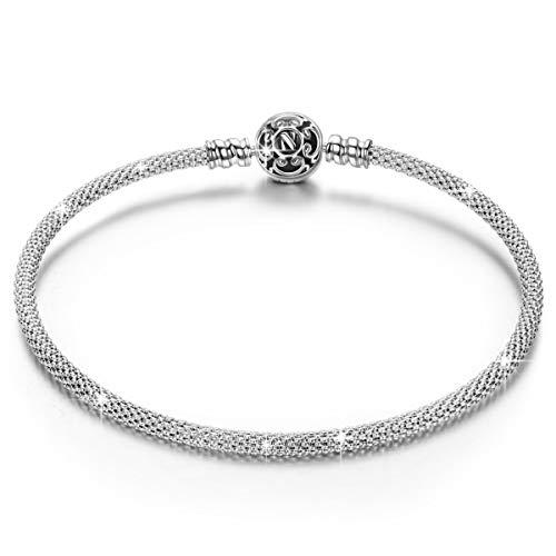 Ninaqueen nero bracciale in argento sterling 925 per le donne per pandora charms bracciale regalo compleanno natale san valentino festa della mamma regali anniversario per moglie figlia