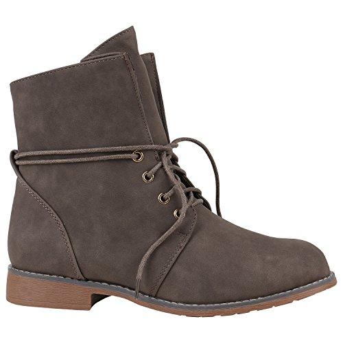 Damen Schnürstiefeletten Leicht Gefüttert Stiefeletten Profilsohle Schuhe 149691 Khaki Bernice 42 Flandell
