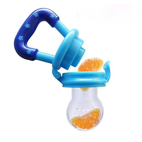 JUYUAN Baby Schnuller Beruhigungssauger Beißring Kieferorthopädische Nahrungsmittelversorgung Knabber Fütterung Werkzeug-Blau, M (Hand Fütterung Werkzeug)