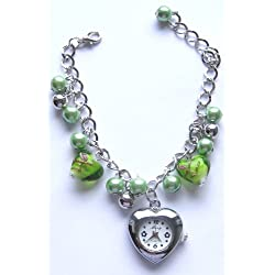 Green Faux Pearl, Round Faceted Crystal & Heart Shaped Beaded Bracelet With Silver Coloured Heart Shaped Watch Face - Comes In A Presenation Box