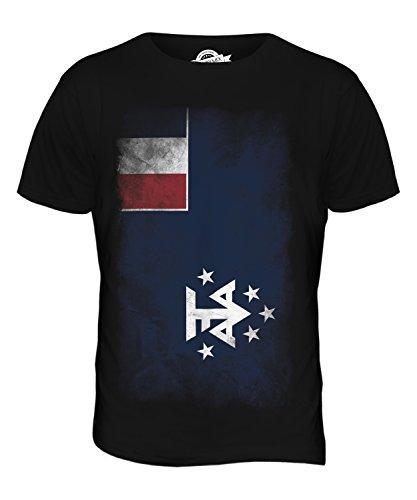 CandyMix Französische Süd- Und Antarktisgebiete Verblichen Flagge Herren T Shirt Schwarz