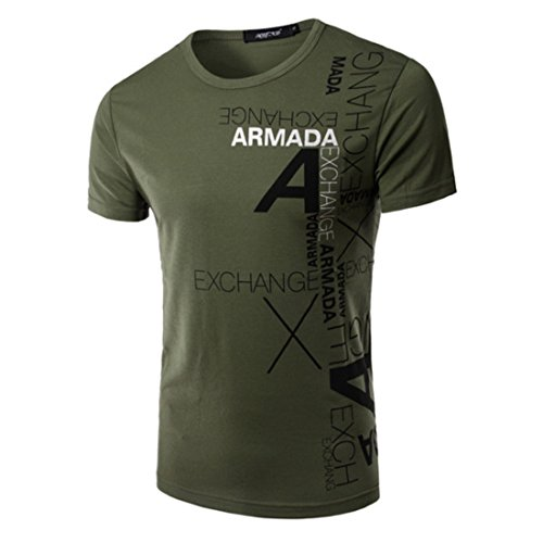 Men's Short Sleeve Cotton Casual Tee Shirts Army Green