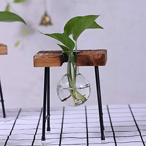 Palla a forma di vaso in vetro lampadina vaso vintage con asta di supporto in legno e metallo rotante per coltura idroponica di piante desktop vaso in vetro per la decorazione domestica, Legno, A1, A1