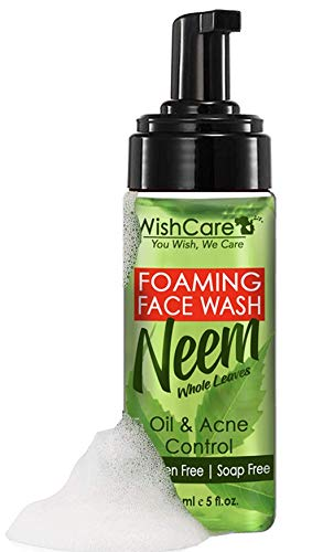 WishCare® Foaming Neem - AloeVera Anti Acne & Oil Gentle Face Wash with Neem Whole Leaves - For Oil, Pollution Dirt and Acne Control - Paraben and Soap Free - 150 Ml