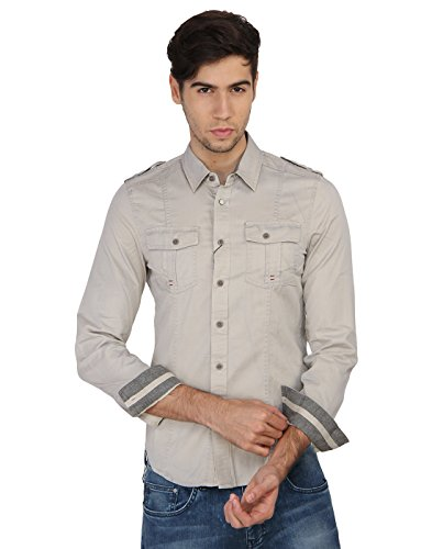 Calvin Klein Men's Off-White Solid Casual Shirt  available at amazon for Rs.3249