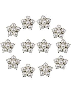 MagiDeal 12pcs Perlen Blumen Form Anstecknadel Blumen Brosche Stecknadel Pins