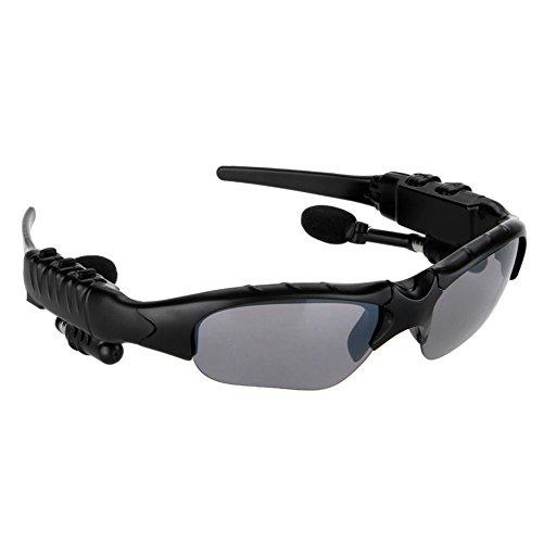 Rrimin Wireless Bluetooth Sunglasses Headset Headphones Earphones (Grey black)
