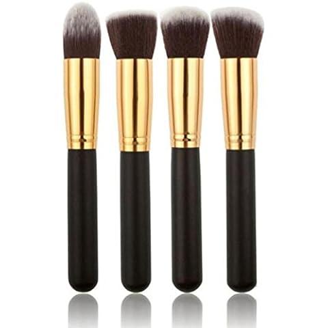 Fortan 4 pezzi nero sintetico Kabuki piatto spazzola del fondamento trucco singolo spazzola cosmetica Oro