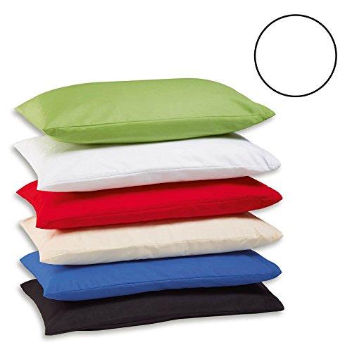 2x Teilig Renforcé Kissenhüllen Kissenbezug Kissenbezüge 100% Baumwolle (80 cm x 80 cm, Weiss)