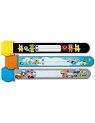 Sigel SY392 - Pulsera de seguridad para niños (3 unidades, 19,7 cm, con etiqueta para nombre y dirección), multicolor
