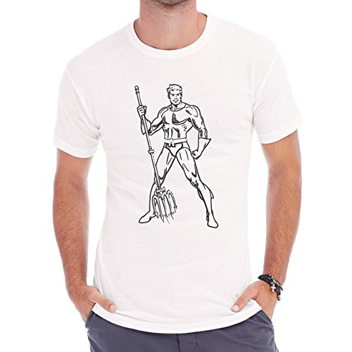 Aquaman Black White Super Hero Axe Down Smiling Herren T-Shirt Weiß