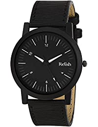 RELISH RE-S8057BB Black Slim Analog Watches For Men's And Boy's
