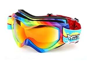 Modovo North Wolf NW917 Ski Goggles with Case Dual Lens TPU Frame UV Protection Triple-layer Foam Rainbow