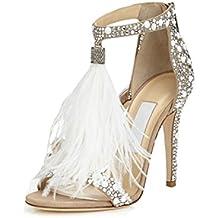b66ad3fdf9348 WSK Tacones altos de las mujeres Zapatos de boda Diamante caliente  Sandalias de plumas sexy Sandalias