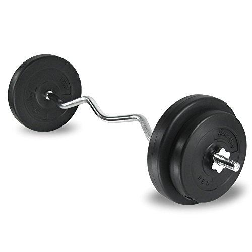 Curlset, Hantel-Set, SZ Langhantelstange, Curlstange 35 kg mit Gewichten, verchromt mit Riffelgriff und Sternverschluss, 120 cm lang