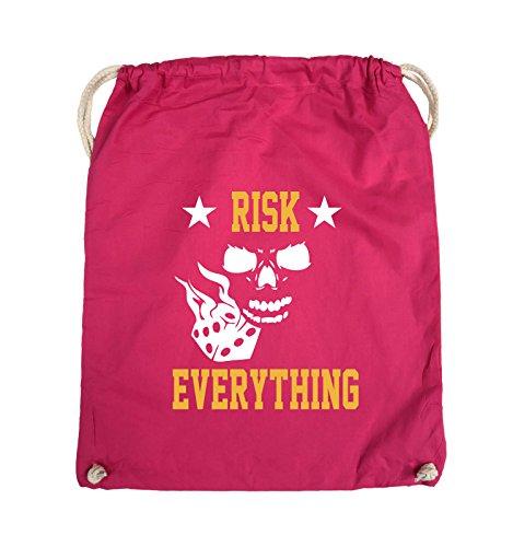 Comedy Bags - Risk everything - Turnbeutel - 37x46cm - Farbe: Schwarz / Weiss-Neongrün Pink / Gelb-Weiss