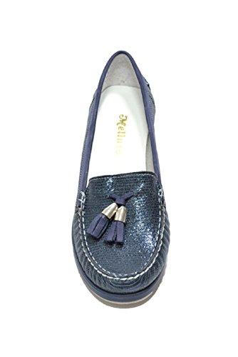 Melluso 01023, Mocassino Donna in Pelle Blu