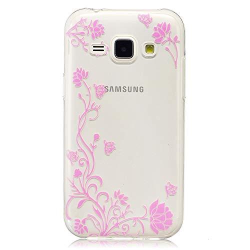 ülle Für Samsung Galaxy J1 (2015 Version, 4.3 Zoll) Flexible TPU Silikon Dünn Protective Cover Transparent Rück Backcover Anti-Scratch Design Rosa Blume Rebe Muster ()