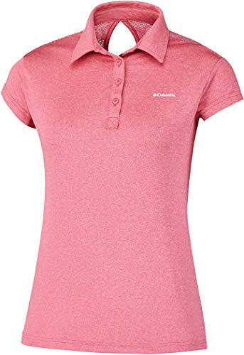 Columbia Peak to Point Novelty Polo Damen Poloshirt, Coral Bloom, L Columbia Peak