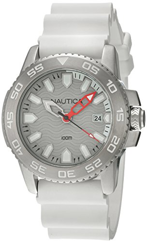 Nautica Unisex Analogue Quartz Movement Watch with Sports White Silicone Strap NSR 20 NAI12528G