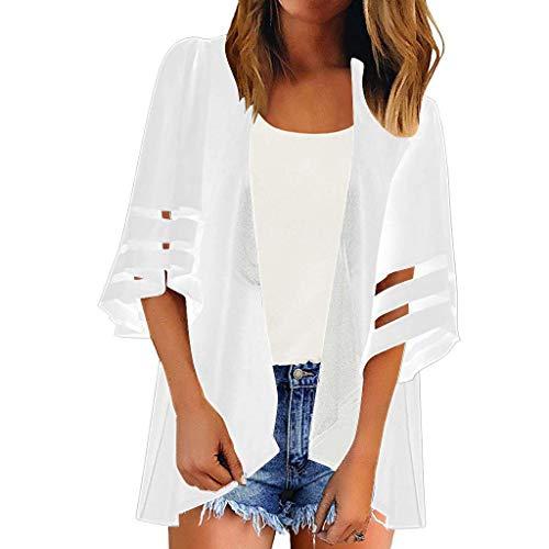 Goosuny Damen Cardigan Halbarm Top Sommer Kimono Einfarbig Shawl Bluse Leichte Jacke Oberteil Strand Blusen Beachwear Badeanzug