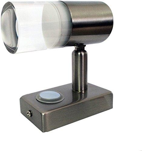 LIGHTEU A2 LED Aufbauspot, 12V, 3W, dreh, schwenkbar und dimmbar mit Touchschalter warm weiß und blau nachtlicht, Nickel by LIGHTEU