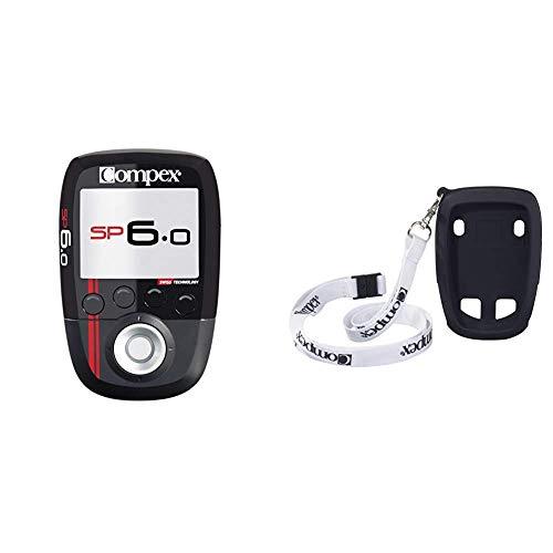 Compex SP 6.0. - Electroestimulador, Negro, 23 cm + Funda Protectora Lanyard Wireless, Negro, Talla Standard