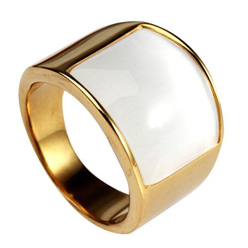 HIJONES Schmuck Damen Herren Mosaik Katzenauge Stein Edelstahl Opal Ringe, Weit, Gold und Weiß, Größe 68 - Und Opal Gold