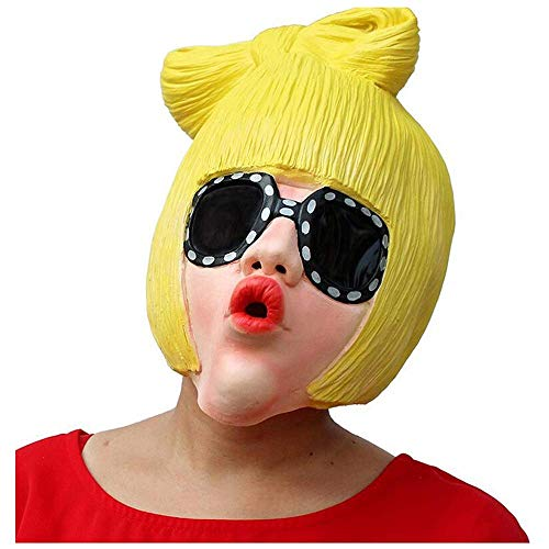 YaPin Latex lustige Dame Maske Lady Gaga Sonnenbrille Headset Cosplay Maskerade Party