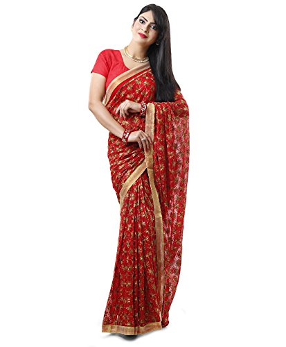 Red Multi Phulkari Saree with Free Blouse