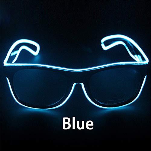 KEZIO LED Lichter Blinkende Gläser EL-Draht-LED-Glas-glühende Partei liefert Beleuchtungs-Neuheit-Geschenk-helles Licht-Festival-Partei-Glühen-Sonnenbrille (Farbe : Blau)