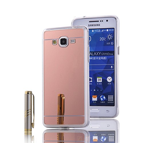 LXHGrowH Funda Samsung Galaxy Grand Prime, [Ultra Delgada] Carcasa con Espejo para Samsung Galaxy Grand Prime Cover Silicona TPU Protectora Rosado Cubierta