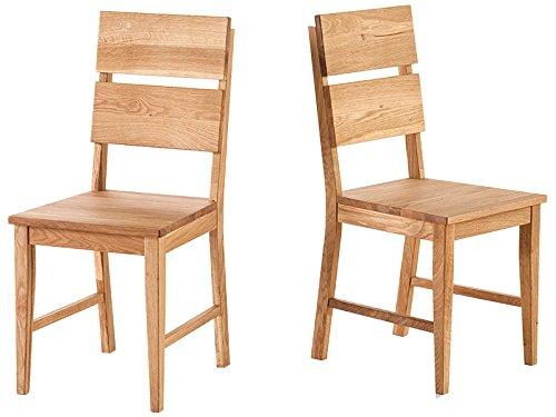 "Holzstuhl Küchenstuhl Stuhl Esszimmerstuhl Viefuß Massivholz \""Maxiv I\"" (2er Set) (Wildeiche massiv/geölt)"