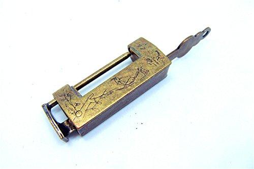 43* 11* 19mm Vintage Mini Messing Vorhängeschloss mit Schlüssel für Koffer und Box