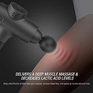 Terra Hiker tragbares Muskel-Massagegerät mit 20 einstellbare Geschwindigkeiten leistungsstarker kabelloser Tiefengewebe Percussion-Massagepistole für Schmerzlinderung (Schwarz)