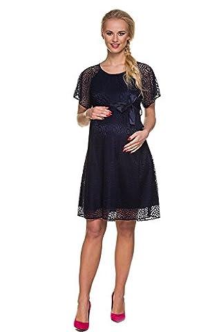 Mutterschafts Kleid Umstands Kleid Valerie marine blau Spitze M (medium) Umstandsmode von MY TUMMY ®©™