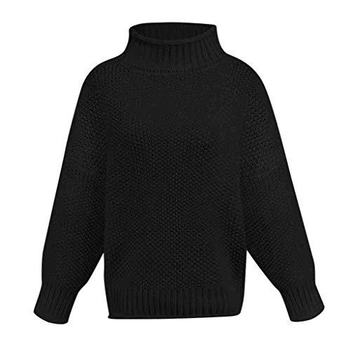 LILIHOT Damen Lässig Gestrickter Sweater Solider Langarm Pullover Rollkragen Pullover Frauen Lange Hülsen Lose Rollkragen Strick Pullover Casual Langarm Bluse