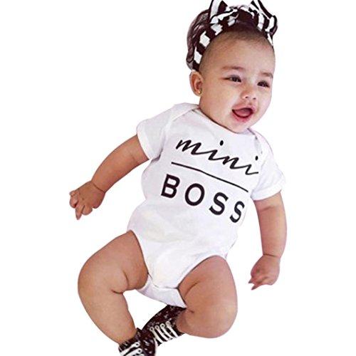 Bekleidung Longra Neugeborene kleidet Baby Mädchen Bodysuit Spielanzug Overall Ausstattung Strampler Outfits(0 -24 Monate) (60CM 3Monate, white)