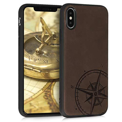 kalibri Apple iPhone X Leder Hülle - Handyhülle Cover - Handy Hardcover Schutzhülle für Apple iPhone X