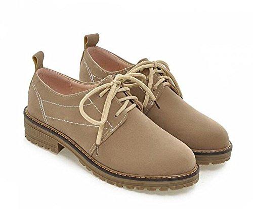 OL Oxford Lace-up Schuhe Round-Toe Low Heel Frauen Casual Hochzeit Büros Vintage Schuhe Europa Größe Customized Biger Größe 34-39 , beige , 35 (Heels Für Oxford Frauen Low)