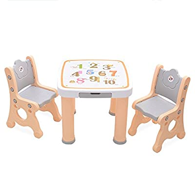 Brisk- Children's Table And Chair Set, Kindergarten Plastic Baby Desk, Chair, Draw A Learning Table, (Color : Beige, Size : 1 table 2 chairs)