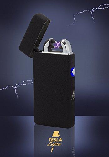 Tesla-Lighter T08 | Lichtbogen Feuerzeug, Plasma Double-Arc, elektronisch wiederaufladbar, aufladbar mit Strom per USB, ohne Gas und Benzin, mit Ladekabel, in edler Geschenkverpackung, Structured Schwarz