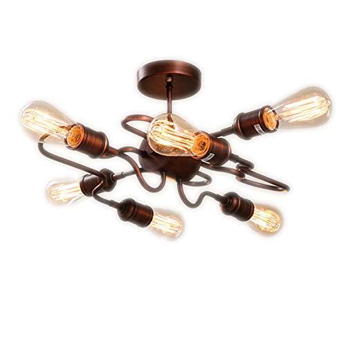 CFYBAO Vintage Schmiedeeisen Kronleuchter 6 Lichter LOFT Industrie Persönlichkeit Innen Dekorative Deckenleuchte Bronze -