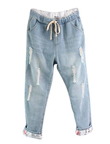 Anguang donna strappato harem pantaloni pantaloni alla cascante coulisse pantaloni leggero blu 5xl
