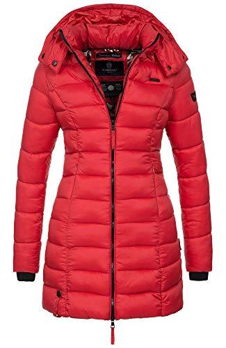Marikoo Herbst Winter Übergangs Steppmantel Jacke Mantel gesteppt B603 (Gr.XS/Gr.34, Rot)