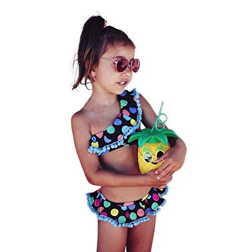 Baby Bademode,Binggong Kleinkind Baby Dot BIkini Set Bademode Kinder Badeanzug Bade Strand Kleidung Mädchen Schwimmanzug (110CM, Schwarz) (Kleinkinder Badeanzüge Für Mädchen)