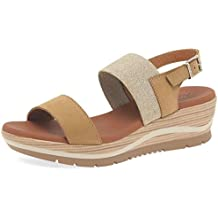 Paula Urban Shore Womens Wedge Heel Sandals 6/39 Camel Nubuck/Elastic