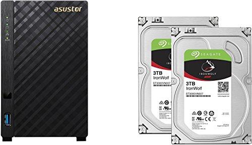 Seagate set bestehend aus zwei Ironwolf 3TB NAS optimierten Festplatten und Asustor NAS AS3202T