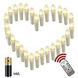 AUFUN LED Weihnachtskerzen 30 Stück LED Kerzen Weihnachtskerzen mit Fernbedienung Warmweiß LED Kerzen Outdoor Weinachten LED für Weihnachtsbaum, Weihnachtsdeko, Hochzeitsdeko, Party, Feiertag