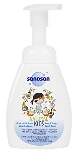 sanosan NATURAL KIDS milder Gesicht & Körper Waschschaum für Jungs, mildes 2in1 Duschgel Kinder, 3er Pack (3 x 250 ml)